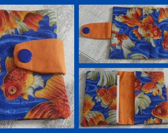 card holder 'red fish' fabric