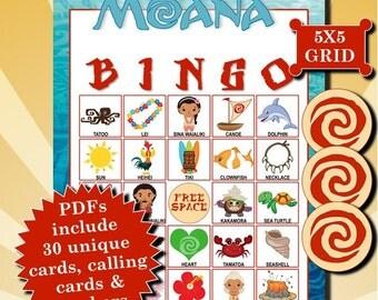 Moana 5x5 Bingo printable PDFs contain everything you need to play Bingo.
