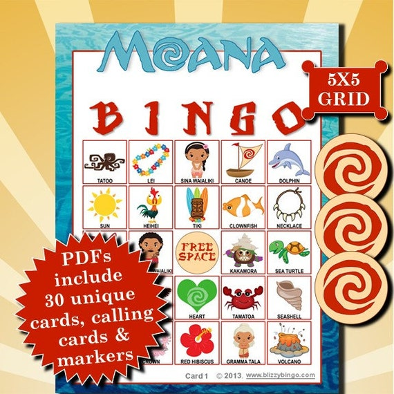 Disney Moana Printable Bingo for Kids