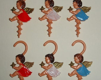 Set of SIX 6 Vintage Angel Fruit or Candy Screw Holder Christmas Tree Ornaments