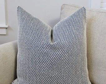 Navy Embroidered Pillow Cover // Custom Designer Navy White Embroidered Zig Zag 18x18, 20x20 Throw Pillow 22 24 26 Euro