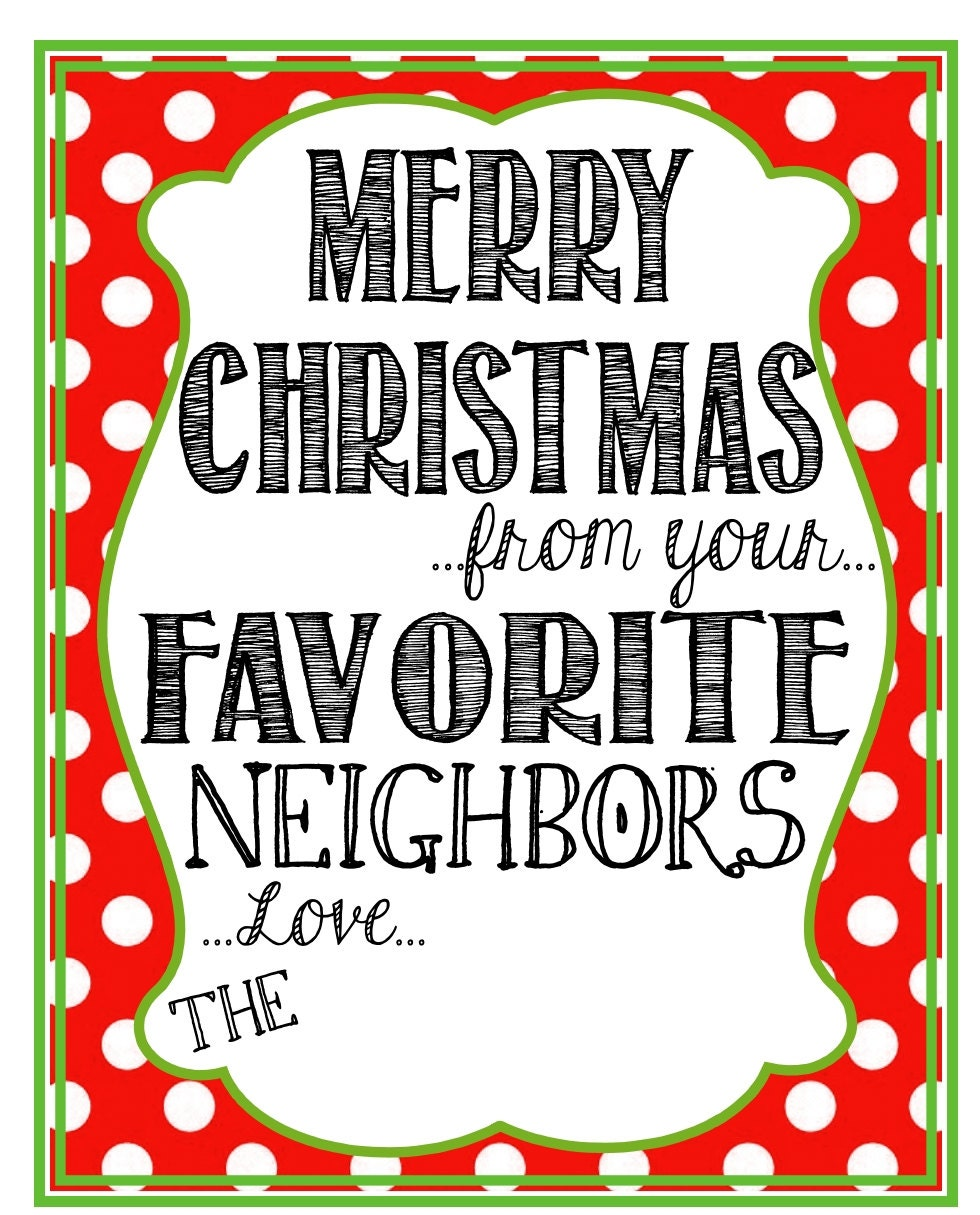 Printable Neighbor Christmas Gift Tags Merry Christmas from