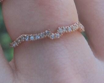 Contoured Diamond Band, Matching Diamond Wedding Band, Flush Fitting Diamond Ring, Custom Diamond Wedding Band, Matching Wedding Ring