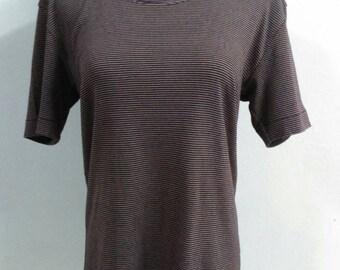 Vintage Lanvin T-Shirt Stripes Pattern Made In Japan