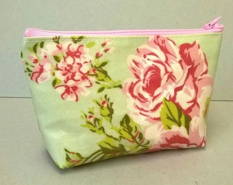 Pale green cosmetic pouch with pink flowers, floral make up bag, ladies zipped pouch, water resistant cosmetic storage