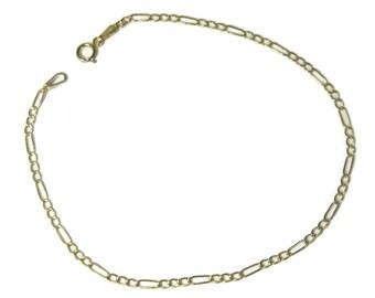 Vintage Italian 10K Yellow Gold 2mm Figaro Bracelet 7.5 Inches