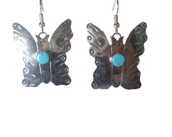 Southwestern Sterling Turquoise Butterfly Earrings