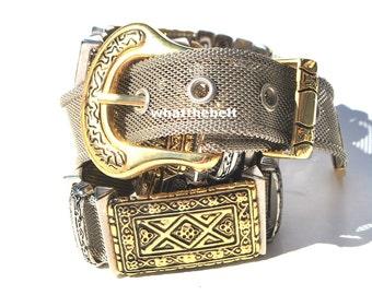 Vintage Belt Metal Silver Gold Mesh Belt Small Medium