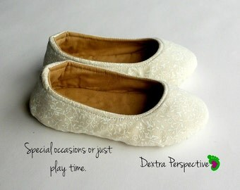 Cream Wedding Shoes - Flower Girl Shoes for Kids with Leather or Rubber Sole, Soft Sole Walking Shoes for Your Little Flower Girl