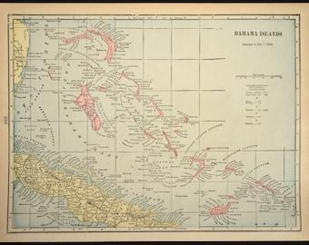 Bahama Islands Map Bahamas Map Antique Original Early 1900s