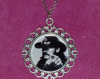 Lemmy Kilmister Inspired Silver Cameo Necklace