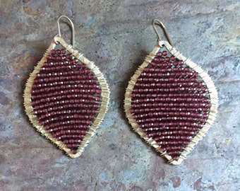 Garnet gemstone silver teardrop hoop statement earrings