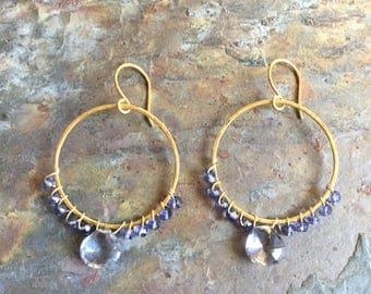 Iolite gemstone gold hoop earrings