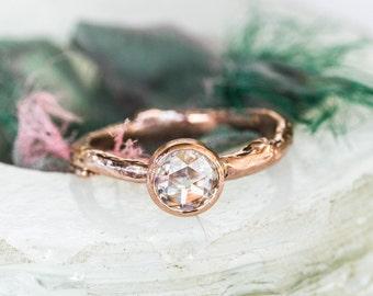 Rose gold moissanite twig engagement ring, rose cut moissanite engagement ring, rose cut gemstone ring
