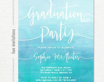 graduation party invitations, blue watercolor high school graduation invitation, college graduation invitation, girls grad party printable