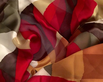 Designer Christian Fischbacher Silk Scarf Vibrant Colors Red and Browns Hand Rolled Hem