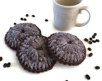 "Dish Scrubbies, ""Espresso Coffee"" Dish scrubbers, You Choose 3 Through 10 Large Crochet Scrubbies,Double Layered,Kitchen Decor, Gift For Her"