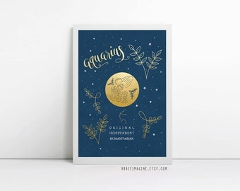 Aquarius, zodiac art print, star sign, astrology gifts, birthday gift