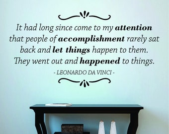 It Had Long Since Come To My Attention Leonardo Da Vinci Vinyl Decal Wall Sticker Decor Quote
