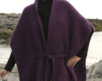 Knitted poncho, hooded shawl, hooded cape, hand made poncho, wool poncho. CHOOSE YOUR COLOR!