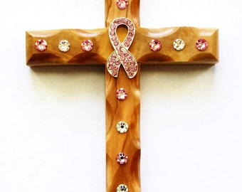 Decorative Wall Crosses - Olive Wood - Wall Cross - Breast Cancer Awareness