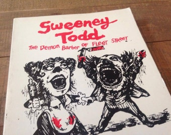 Sweeney Todd Paperback Libretto with Pictures, Sweeney Todd, Musical, Music Gift, The Demon Barber of Fleet Street