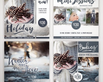 WINTER Mini Session TEMPLATES -- Instant Download, Photographer Marketing Board, Photoshop, BLOG, Instagram, Facebook