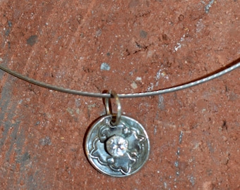 Delicate Fine Silver Circle Pendant with Cubic Zirconia