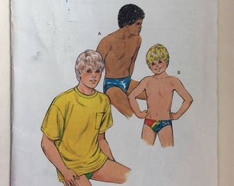 1980's Vintage Boys' Speedo Swim Trunks for Stretch Knits and T-shirt Pattern Sizes 8,10,12,14 Dated 1987
