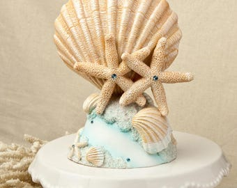 Life's A Beach Starfish and SeaShell Wedding Cake Topper  2500