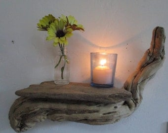 "FREE SHIPPING = Driftwood Shelf with Candle and Bottle for flowers Wall Decoration ""Nautical Style"""