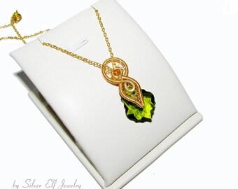 Spirit of Nature, Elven pendant, elegant necklace, Green Spirit, wire pendant, elvish jewelry, nature jewelry, elf costume, cosplay