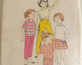 Butterick 8688 is for a 1950 pattern for a 2 year old childs sport togs with unique capri shirt, pleated skirt, & 3 lengths of sailor pants