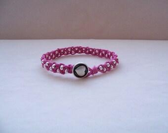 Pink Heart Beaded Macrame Bracelet, Hemp Jewelry, Macrame Jewelry, Macrame Bracelet, Heart Jewelry, Heart Bracelet, Valentine's Day Jewelry