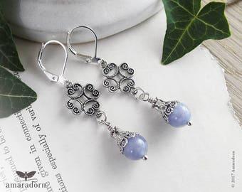 Cornflower Blue Celtic Earrings, Silver Spirals Filigree Earrings with Aquamarine Gemstone, Silver & Pale Blue Earrings, Aquamarine Jewelry