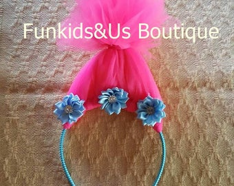 Trolls headband, poppy troll headband, troll birthday headband, princess poppy troll headband - birthday headband