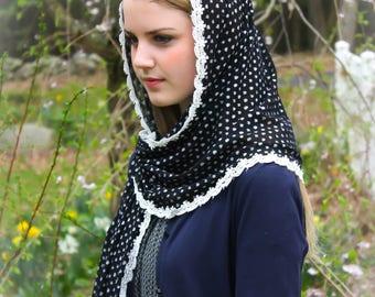 Evintage Veils~ Black & White Dotted Wrap Mantilla Floral Vintage Inspired Lace Chapel Veil Scarf Mantilla-