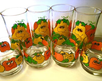 Eight 1970s Nancy Lynn smiling fruit glasses - two different sizes