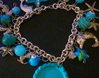 Sea Themed, Bottle Cap Charm Bracelet