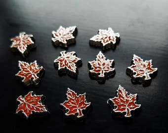 Red Orange Maple Leaf Floating Charm for Floating Lockets-Fall Charm-Great Gift Idea