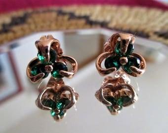 Beautiful Shamrock in 14K  Rose Gold Earrings