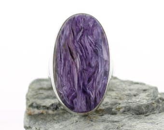 Silver ring with Charoite. Size 8.25. Natural stone. Charoite jewel. Charoite cabochon Ring. Ring size Q. Stering silver Charoite ring.