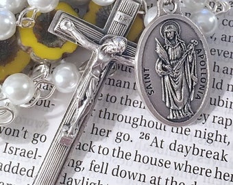 Saint Apollonia Rosary Catholic Rosaries Mary Rosary St Apollonia Rosary Confirmation Gift Saint Rosary Pearl Rosary Catholic Gift