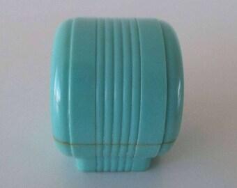 Vintage Art Deco Celluloid Round Ring Box Turquoise Blue Ring Box 1930's Ring Box 1940's Ring Display Box