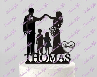 Wedding Cake Topper Family Silhouette - Bride, Groom and children Family Cake Topper with your Last Name Acrylic Cake Topper [CT66f]