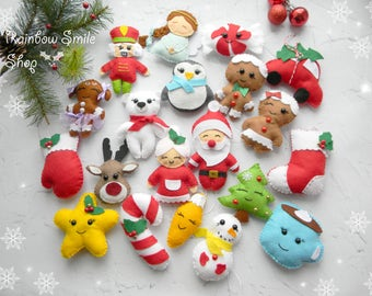 Set Felt Christmas ornament Kawaii Felt Christmas Ornaments Star  Reineer Candy can Cardinal Angel Stocking ornaments Christmas decorations
