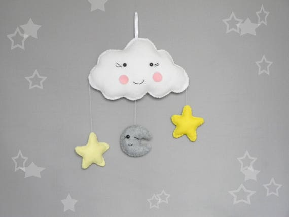 Cloud star and moon wall decor Moon and stars theme Cloud