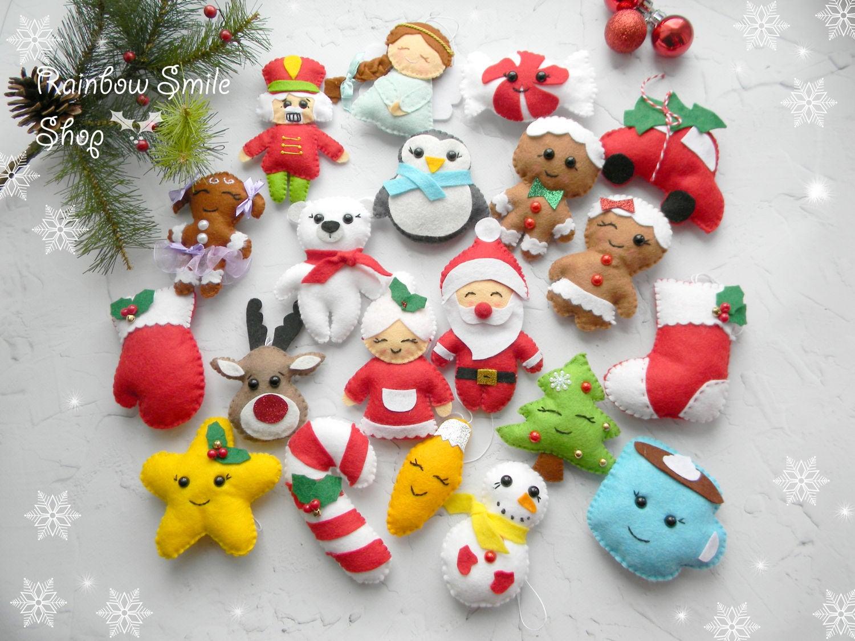 Conjunto fieltro navidad puede kawaii fieltro navidad adornos - Adornos navidenos de fieltro ...
