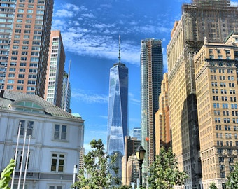 "New York Photograph, Color Photography, NYC Photo, Art Print, Cityscape, Lower Manhattan, High Rises,  WTC, ""A New View"""
