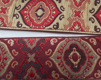 Jacquard Ribbon Trim | 1 Inch Regal Pattern Woven Jacquard Ribbon | Renaissance Fair Costume Trim~Burgundy~Tan